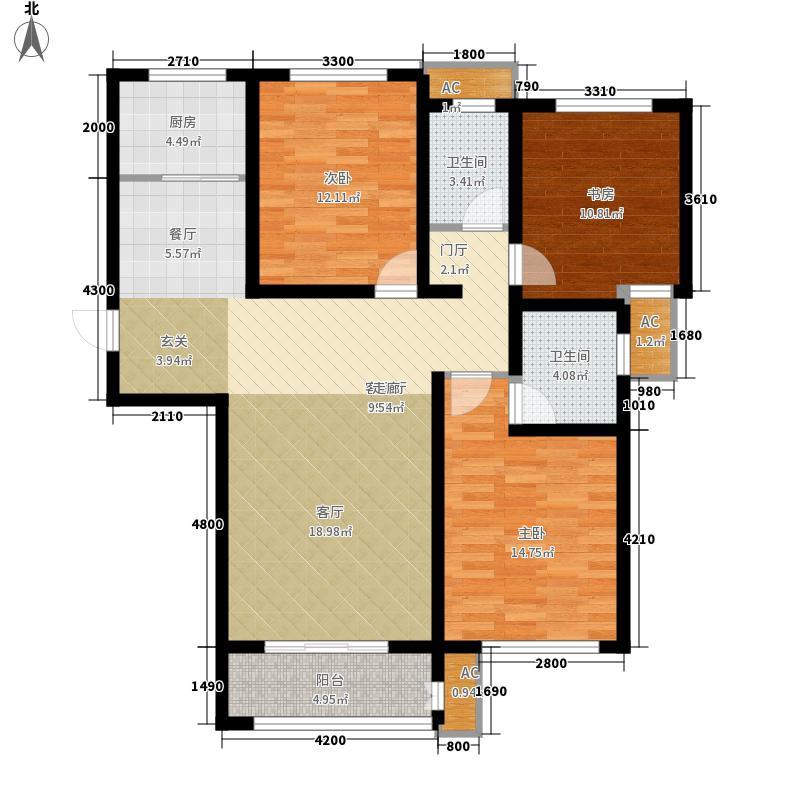 盛秦北苑128.63㎡11层小高层E1户型3室2厅