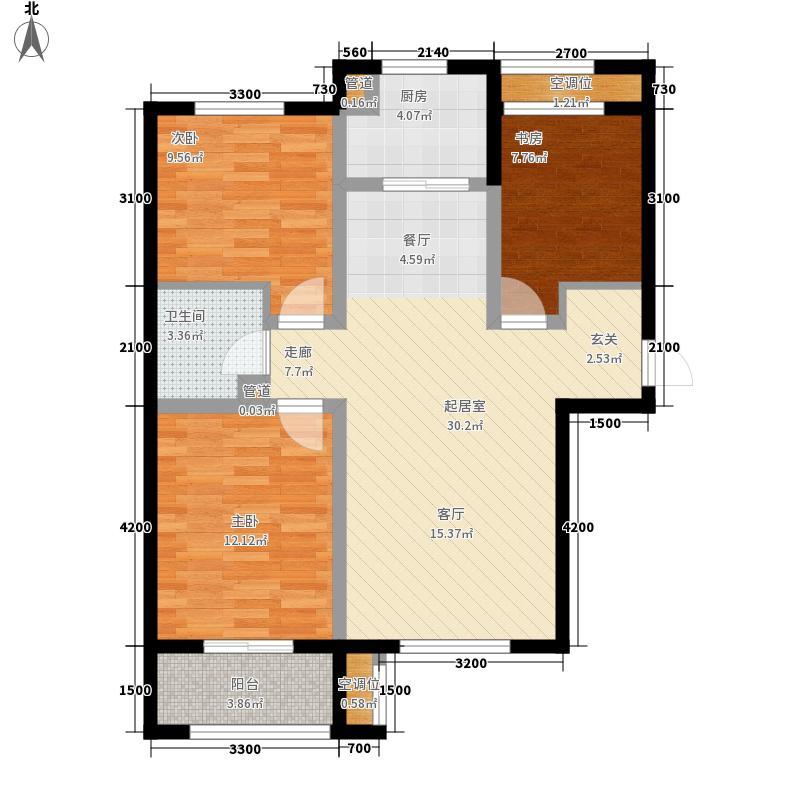 文香府邸109.80㎡高层D户型3室2厅