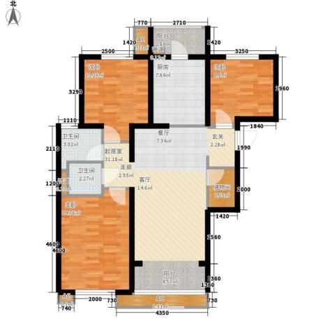 万科・金域东郡3室0厅2卫1厨100.00㎡户型图