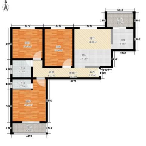 美意苑小区3室1厅2卫0厨157.00㎡户型图