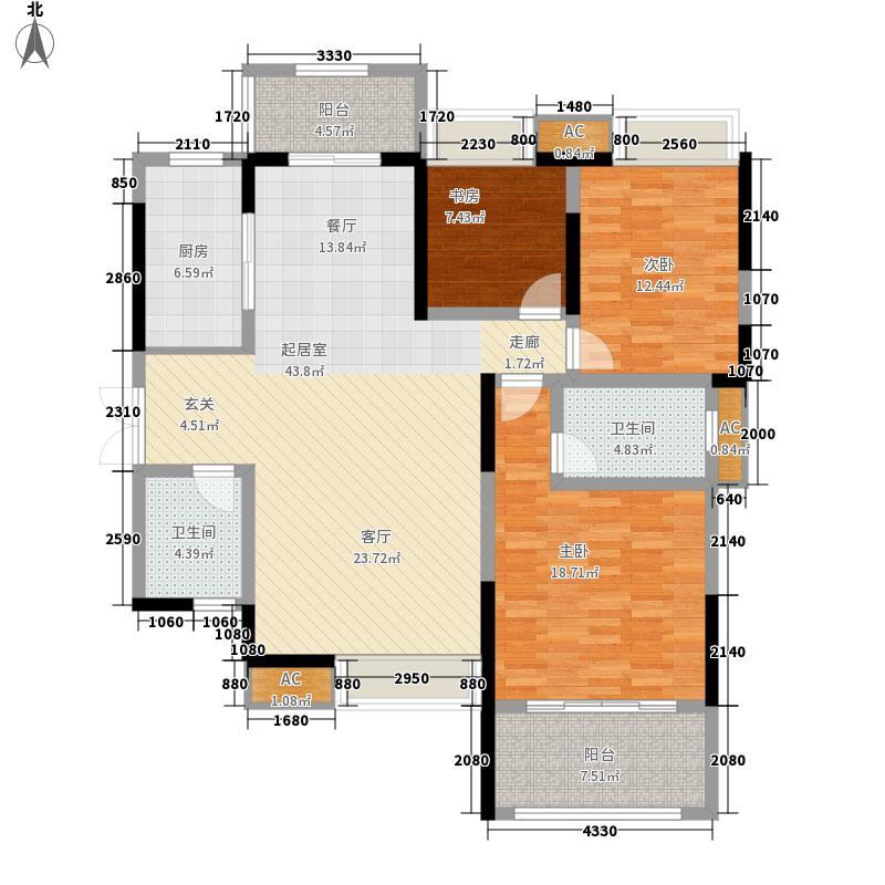 新兴天著户型2室2厅2卫2厨
