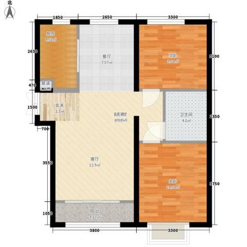 天洋城4代2室0厅1卫1厨89.00㎡户型图