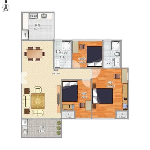 裕龙君汇3室1厅2卫1厨122.00㎡户型图