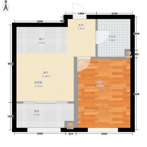 华誉・金御蓝湾1室0厅1卫1厨52.00㎡户型图