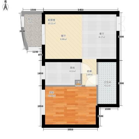 天洋城4代1室0厅1卫1厨60.00㎡户型图