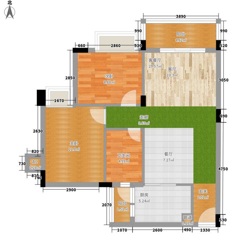 学府南苑83.41㎡7号楼05单元2室户型