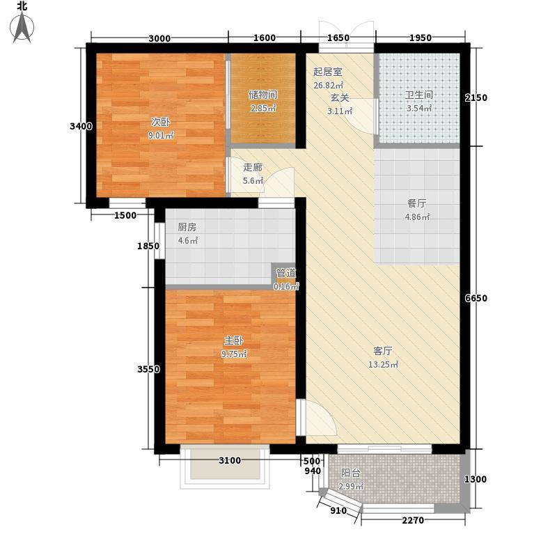 天洋城4代88.00㎡二期19、20、21、26、29号楼B1a户型