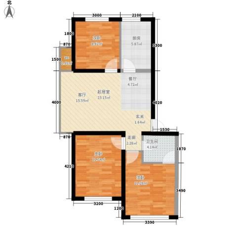 金域明珠3室0厅1卫1厨89.00㎡户型图