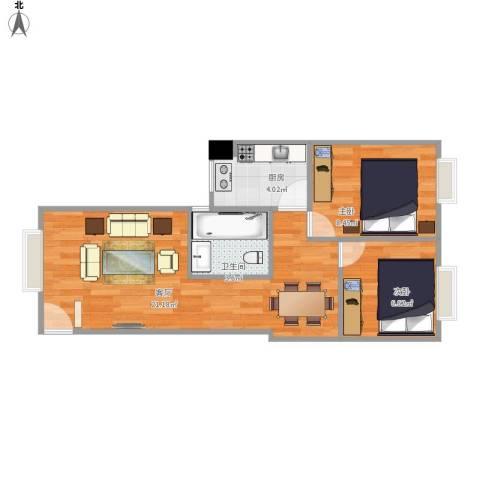 特房美地雅登2室1厅1卫1厨60.00㎡户型图