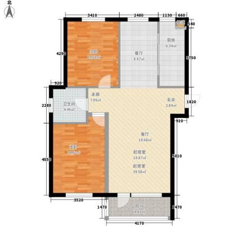 华誉・金御蓝湾2室0厅1卫1厨106.00㎡户型图