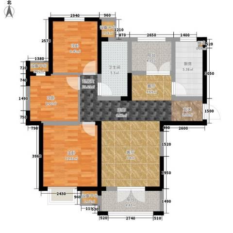 团泊湖光耀城3室0厅1卫1厨124.00㎡户型图