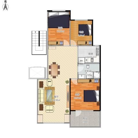 昂展公园里3室1厅1卫1厨125.00㎡户型图