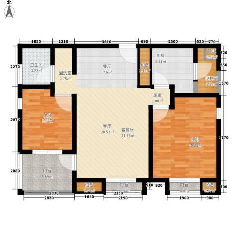 海御阳光三期2室1厅1卫1厨87.00㎡户型图