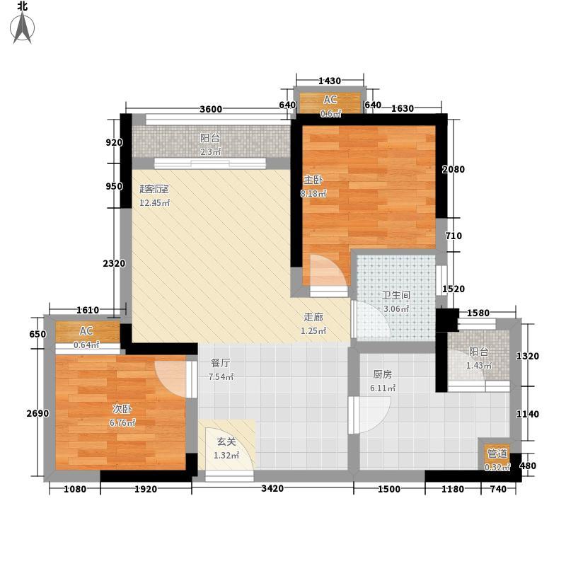 北城阳光尚线一期3号楼高层3号房户型2室2厅