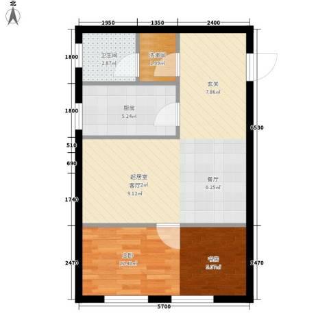 皇城壹號1室0厅1卫1厨71.00㎡户型图