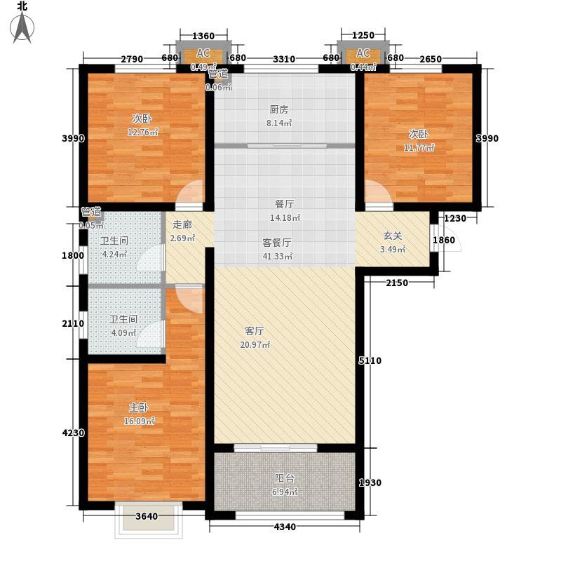 盛紫中央公园121.54㎡3#4#5#楼A户型3室2厅