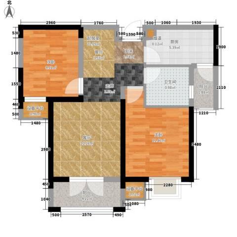 团泊湖光耀城2室0厅1卫1厨92.00㎡户型图