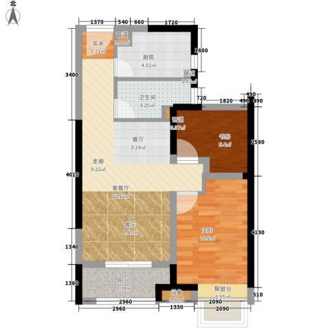 世茂公元2室1厅1卫1厨67.00㎡户型图