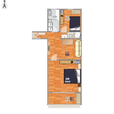 平乐园小区2室1厅1卫1厨73.00㎡户型图