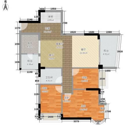 雅居乐・青花南湖3室1厅1卫1厨121.00㎡户型图