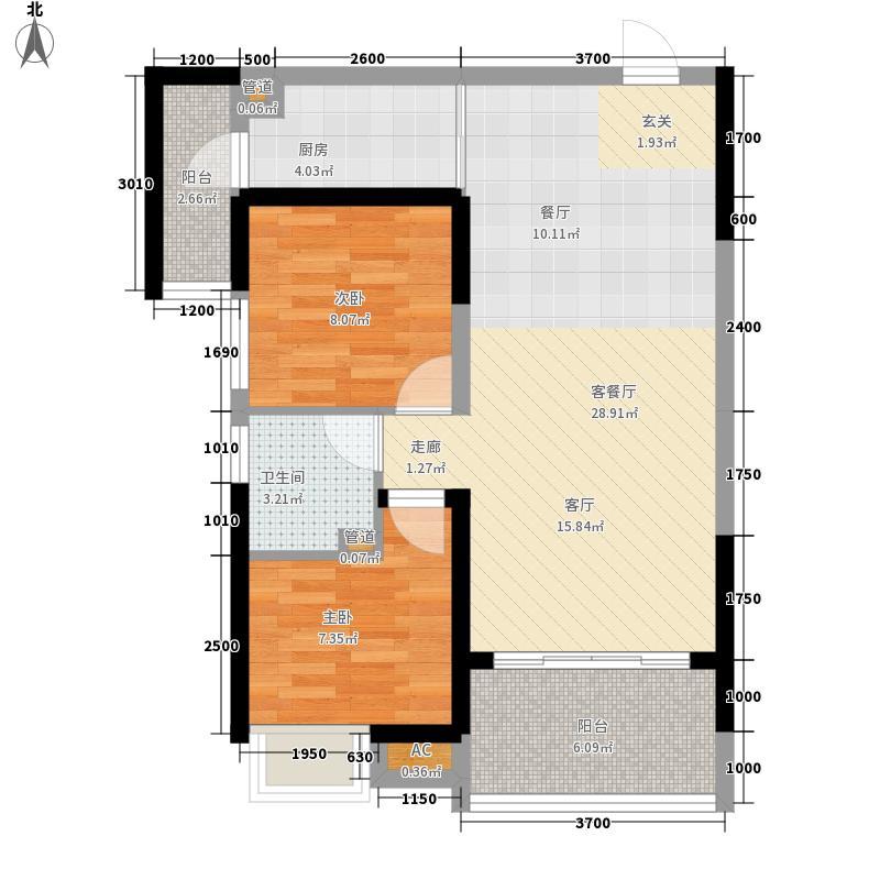岭尚梦想87.86㎡G户型2室2厅
