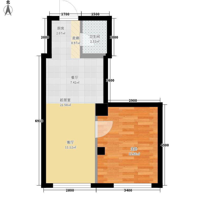 五洋大厦户型1室2厅