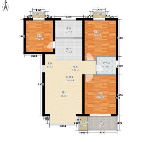 永康水印城3室0厅1卫1厨136.00㎡户型图