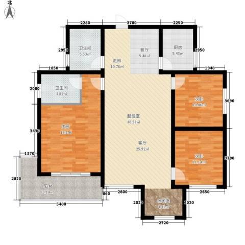 月亮湾3室0厅2卫1厨127.00㎡户型图