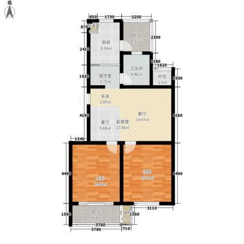 沪太雅苑2室0厅1卫1厨92.00㎡户型图