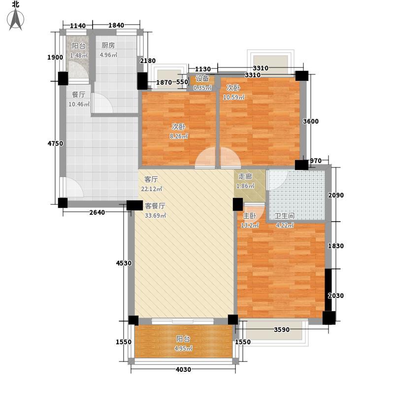 水域天际100.67㎡D503(D501)户型3室2厅