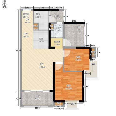 中信凯旋城2室0厅1卫1厨88.00㎡户型图