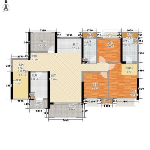 中信凯旋城3室0厅2卫1厨140.00㎡户型图