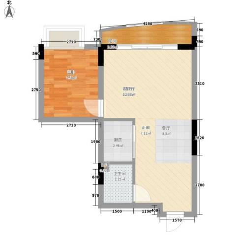 鸳鸯北湖郡1室1厅1卫1厨44.67㎡户型图