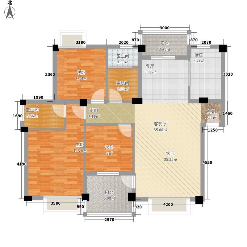 水域天际107.73㎡B3户型2室2厅