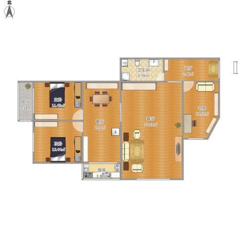 金凤家园3室2厅1卫1厨149.00㎡户型图