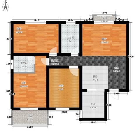 天润・东方绿城3室0厅2卫1厨100.00㎡户型图