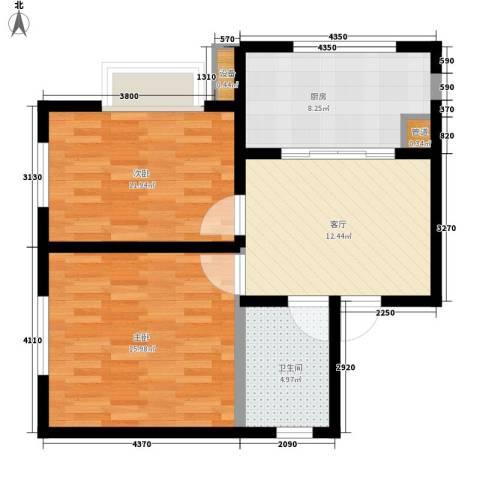 公务员小区(二期)2室1厅1卫1厨63.00㎡户型图