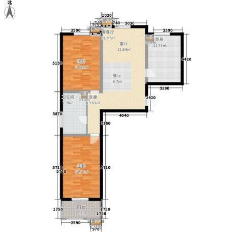 怡安嘉园2室1厅1卫1厨131.00㎡户型图