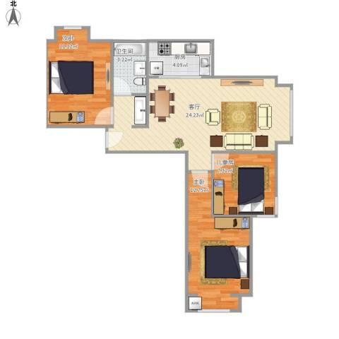 学府嘉园3室1厅1卫1厨85.00㎡户型图
