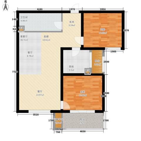 怡安嘉园2室1厅1卫1厨119.00㎡户型图