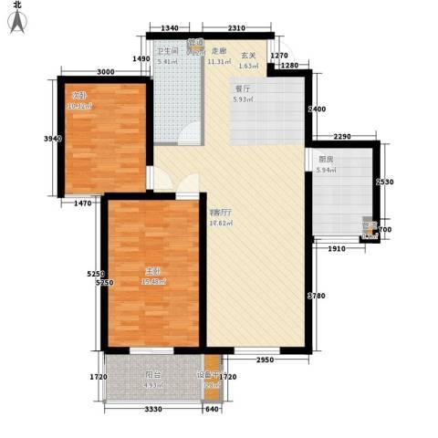 怡安嘉园2室1厅1卫1厨113.00㎡户型图