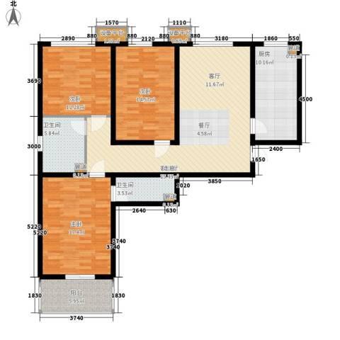 怡安嘉园3室1厅2卫1厨148.00㎡户型图