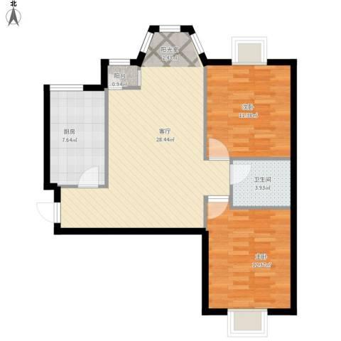珠江逸景家园2室1厅1卫1厨90.00㎡户型图