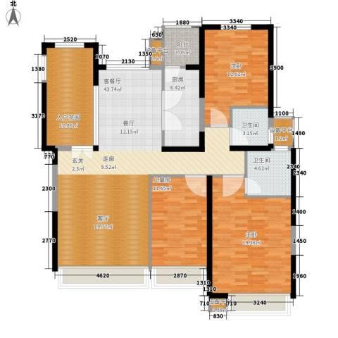 荷堂3室1厅2卫1厨165.00㎡户型图