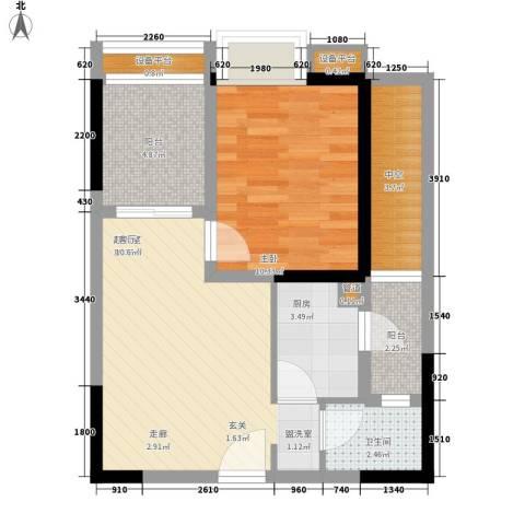 名敦道南滨国际公寓1室0厅1卫1厨44.68㎡户型图