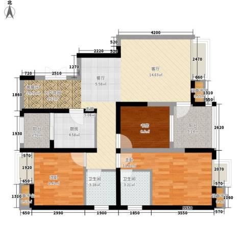渝西印象3室1厅2卫1厨107.00㎡户型图
