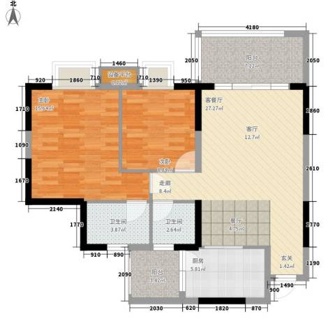温馨家园2室1厅2卫1厨107.00㎡户型图