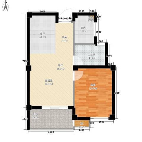 桃源东湾1室0厅1卫1厨69.00㎡户型图