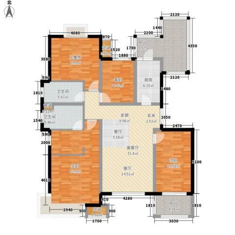 无锡万达文化旅游城4室1厅2卫1厨143.00㎡户型图
