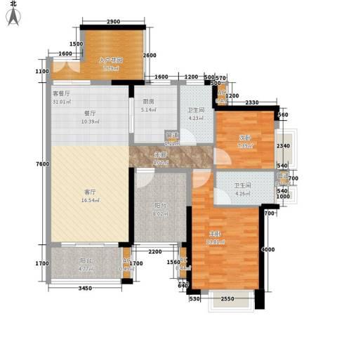 星河盛世2室1厅2卫1厨101.83㎡户型图